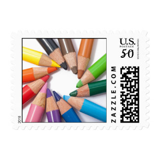 Colored pencils circle postage