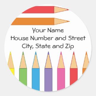 Colored Pencils Classic Round Sticker