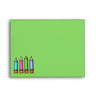 Colored Pencils green Note Card Envelope