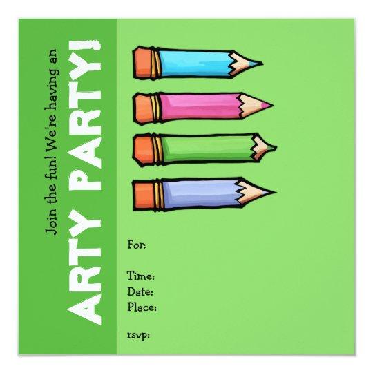Colored Pencils green Party Invitation