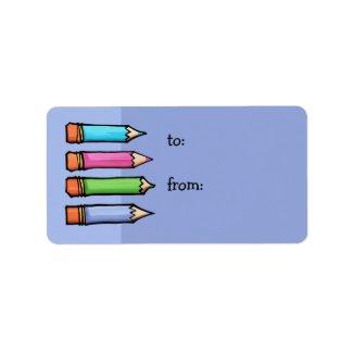 Colored Pencils lavender Gift Tag label