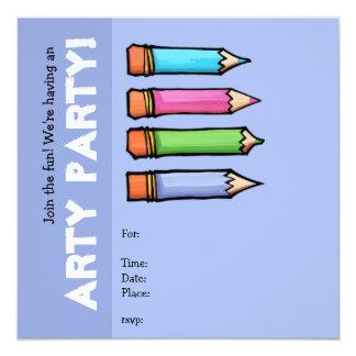 """Colored Pencils lavender Party Invitation 5.25"""" Square Invitation Card"""