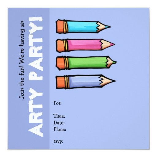 Colored Pencils lavender Party Invitation