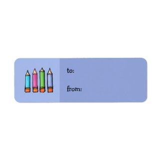 Colored Pencils lavender small Gift Tag label
