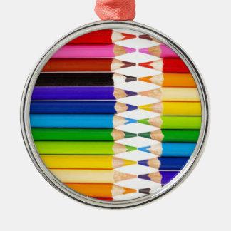 colored pencils metal ornament