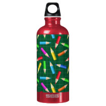 Colored Pencils on Green Grid Aluminum Water Bottle