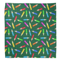 Colored Pencils on Green Grid Bandana
