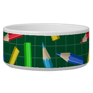 Colored Pencils on Green Grid Bowl