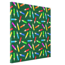 Colored Pencils on Green Grid Canvas Print