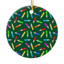 Colored Pencils on Green Grid Ceramic Ornament