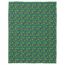Colored Pencils on Green Grid Fleece Blanket