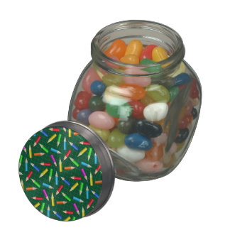 Colored Pencils on Green Grid Glass Candy Jar
