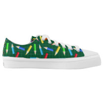 Colored Pencils on Green Grid Low-Top Sneakers