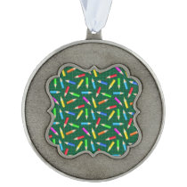 Colored Pencils on Green Grid Ornament