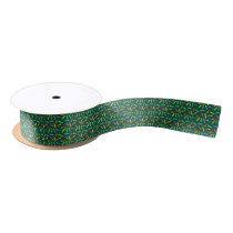 Colored Pencils on Green Grid Satin Ribbon