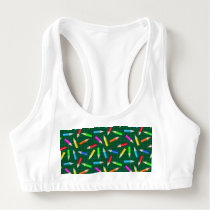 Colored Pencils on Green Grid Sports Bra