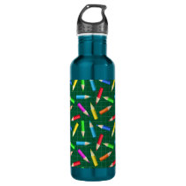 Colored Pencils on Green Grid Stainless Steel Water Bottle