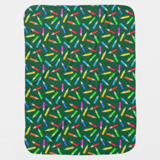 Colored Pencils on Green Grid Swaddle Blanket
