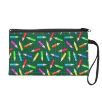 Colored Pencils on Green Grid Wristlet Purse