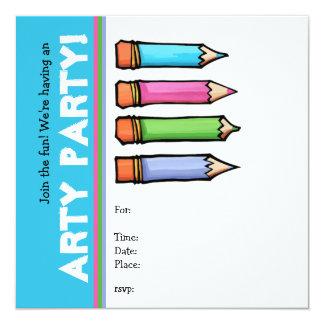 """Colored Pencils Party Invitation 5.25"""" Square Invitation Card"""