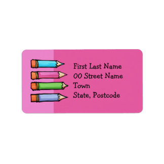 Colored Pencils pink Address Labels
