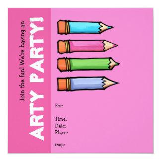 """Colored Pencils pink Party Invitation 5.25"""" Square Invitation Card"""