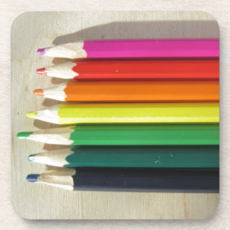 Colored pencils rainbow coaster