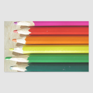 Colored pencils rainbow rectangular sticker