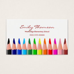 Colored Pencils Teacher's Business Card