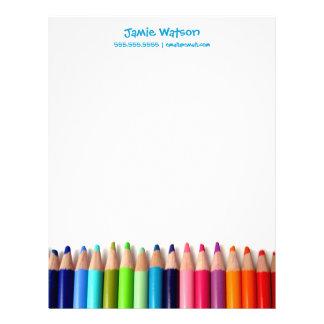 Colored Pencils Tutor Teacher Letterhead