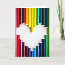 Colored Pencils with Heart Shape Greeting Card