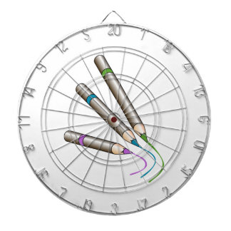 Colored Pencils Writing Dartboard With Darts