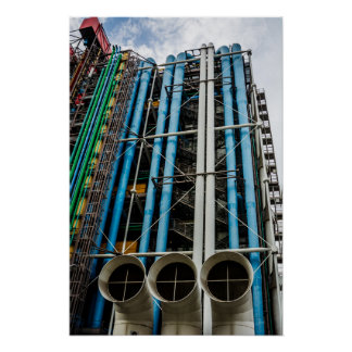 Colored pipelines on the facade of a building poster