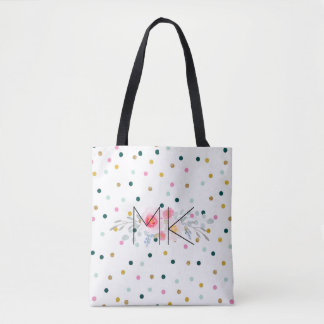 Colored Polka Dot Tote Bag with your Initials