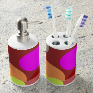 Colored Polka Dots Soap Dispenser And Toothbrush Holder