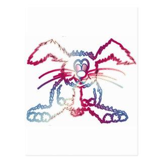 colored rabbit postcard