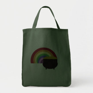 Colored Rainbow And Pot Of Gold Grocery Tote Bag