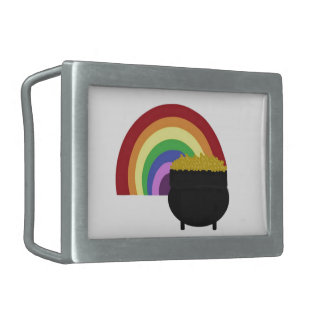 Colored Rainbow And Pot Of Gold Belt Buckle