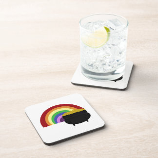 Colored Rainbow And Pot Of Gold Drink Coaster