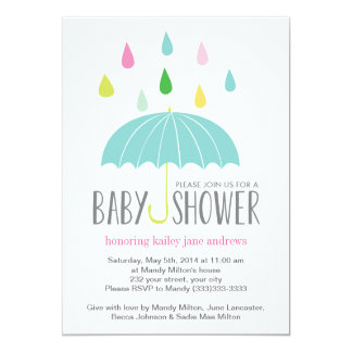 Colored Raindrops Baby Shower Invite