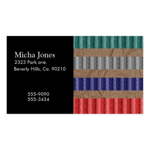 Colored ribbed cardboard brown paper business card zazzle for Brown paper business cards