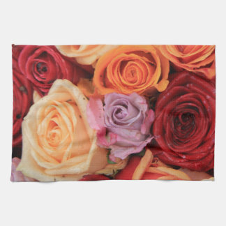 Colored roses by Therosegarden Towel