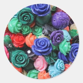 colored roses stones classic round sticker