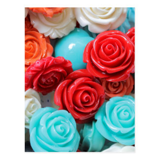 colored roses stones postcard