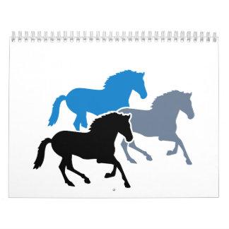 Colored running horses calendar