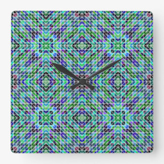 Colored seamless triangle pattern square wall clock