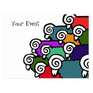 Colored Sheep Postcard