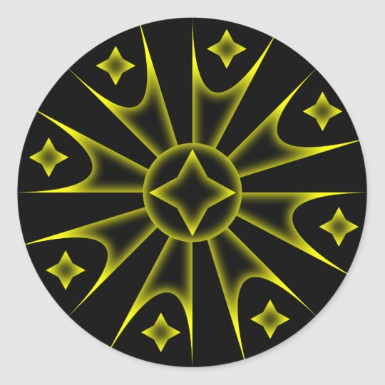 Colored Spike Stars Classic Round Sticker
