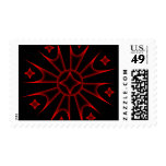 Colored Spike Stars Stamp Red