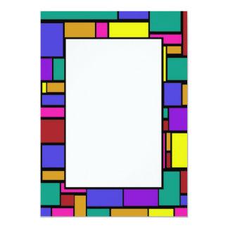 """Colored Squares Border 2 Invitation 5"""" X 7"""" Invitation Card"""